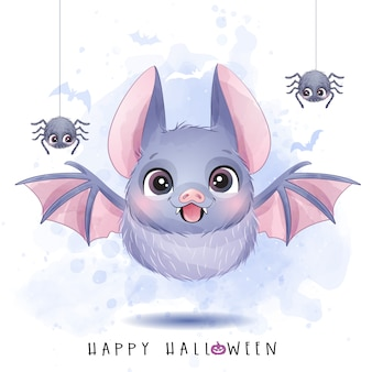 Cute little bat and spider for halloween day with watercolor illustration