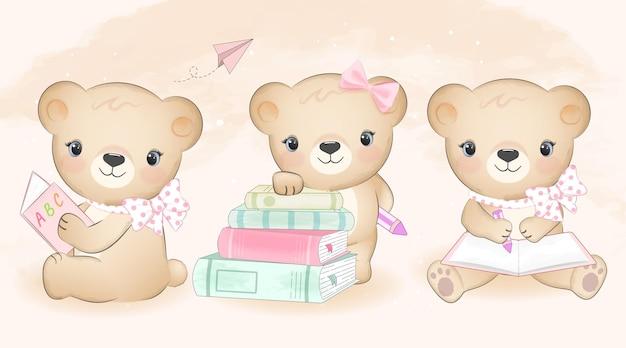 귀여운 작은 곰과 책 세트 손으로 그린 그림