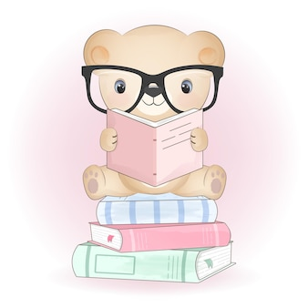 Милый маленький медведь и книги рисованной иллюстрации