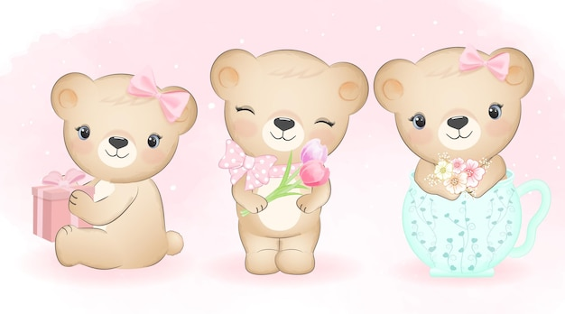 귀여운 작은 곰과 꽃 그림 설정 프리미엄 벡터
