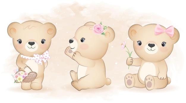 Милый маленький медведь и цветы набор акварельных иллюстраций