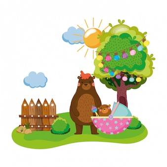 Cute and little bear and baby