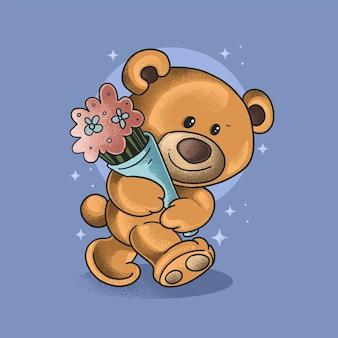 Милый маленький медведь приносит цветы