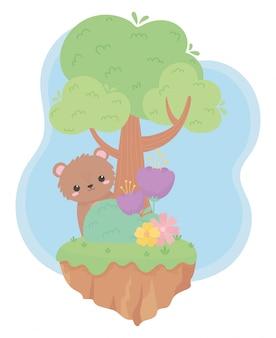 자연 풍경에 귀여운 작은 곰 꽃 나무 부시 잔디 만화 동물