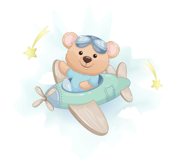 Милый маленький медведь летит на самолете, изолированном на белом