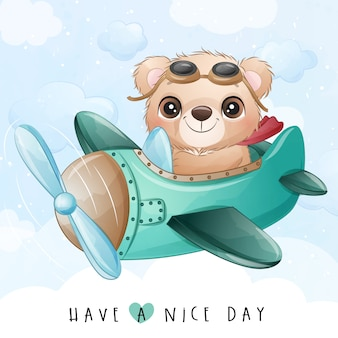 Cute little bear flying with airplane illustration
