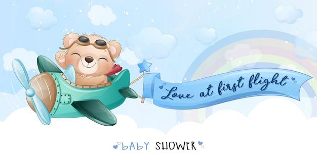 飛行機のイラストが飛んでかわいいクマ Premiumベクター