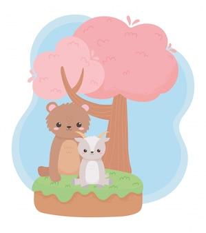 自然の風景の中のかわいい小さなクマヤギツリー漫画の動物