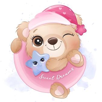 달 그림에 매달려 귀여운 작은 곰