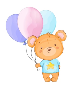 Милый маленький медведь держит цветные воздушные шары