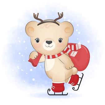 アイススケートのクリスマスシーズンのイラストにギフトバッグを保持しているかわいいクマ