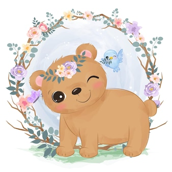 수채화에 귀여운 작은 곰 그림