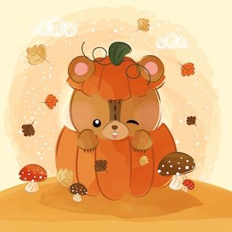 Милый маленький медведь в тыкве