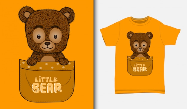 Cute little bear inside the pocket, with t-shirt design, hand drawn