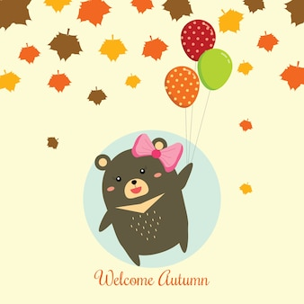 Cute little bear jumping the autumn