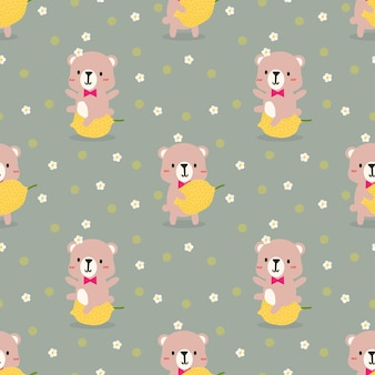 Cute little bear and lemon seamless pattern