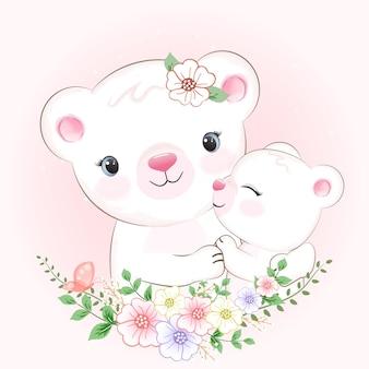 Cute little bear and mom drawn cartoon animal watercolor illustration