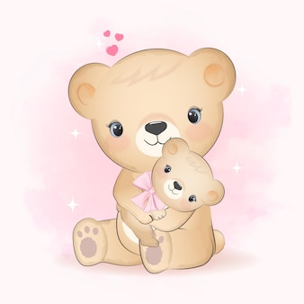 Cute little bear and mom with heart hand drawn cartoon animal illustration