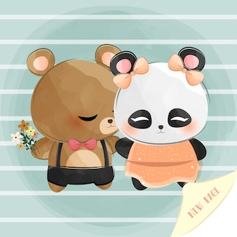 Cute little bear and panda with a new page