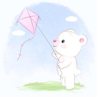 Cute little bear playing kite cartoon hand drawn illustration
