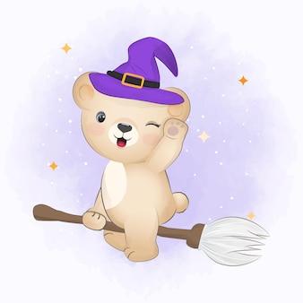 Cute little bear riding broom halloween illustration