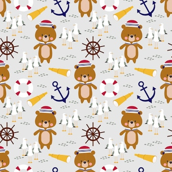 Cute little bear sailor seamless pattern.