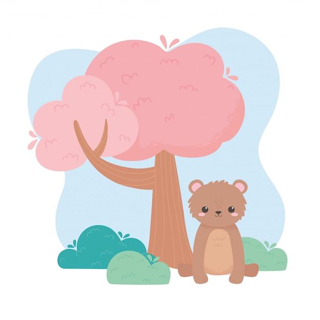 自然の風景のベクトル図にツリー漫画の動物を座っているかわいい小さなクマ
