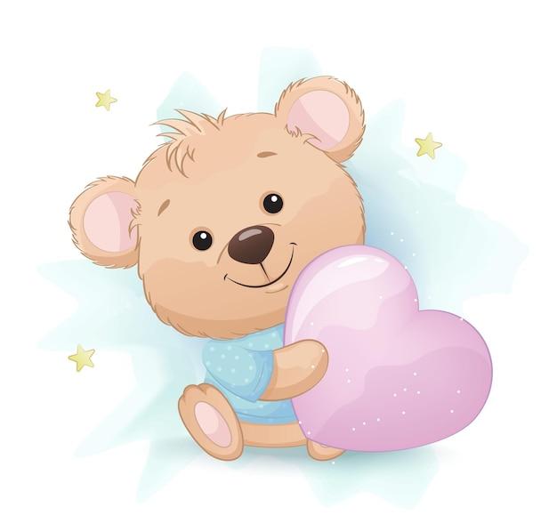 Милый медвежонок сидит с большой розовой подушкой в форме сердца