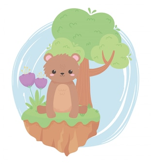 自然の風景の中の花と木の漫画の動物と座っているかわいい小さなクマ