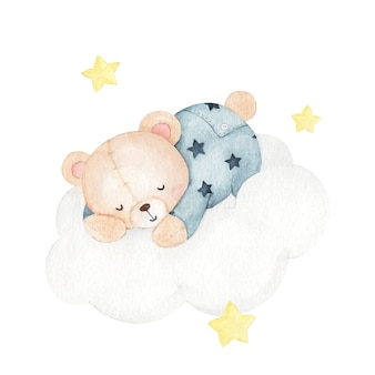 Cute little bear sleep watercolor illustration