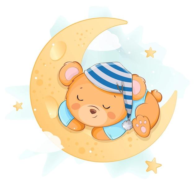달에 잠자는 귀여운 작은 곰