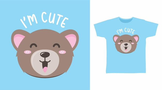 Cute little bear typography for t shirt design