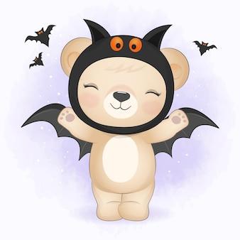 Cute little bear wearing halloween costume and holding broom halloween illustration