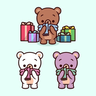 Cute little bear wearing scarf and surounding by chritmas present