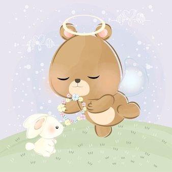 Cute little bear and wings