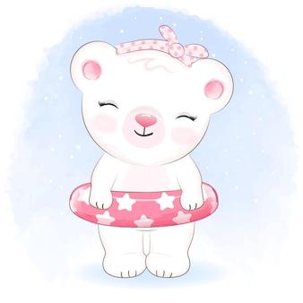 수영 풍선 고무 링이 달린 귀여운 작은 곰