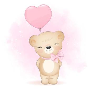 Cute little bear with balloon cartoon animal watercolor illustration