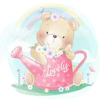 Милый маленький медведь с красивым цветком