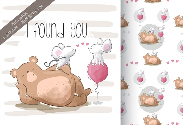 Cute little bear with bunnies seamless pattern