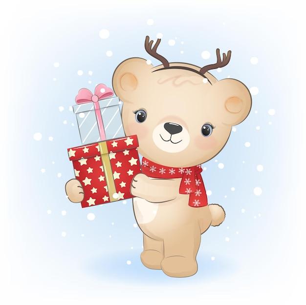 Милый маленький медведь с подарочной коробкой зимой и рождественская иллюстрация