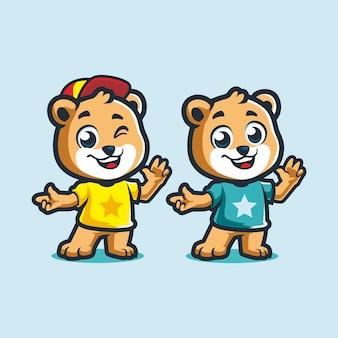 모자 만화 벡터 드로잉과 함께 귀여운 작은 곰