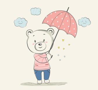 Cute little bear with pink umbrella cartoon