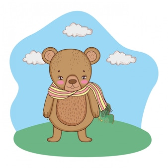 Cute little bear with scarf in the camp