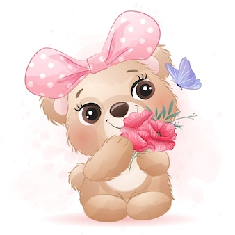 Cute little bear with watercolor effect