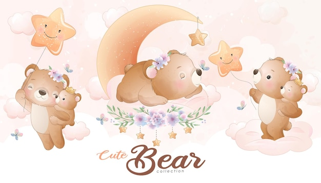 Cute little bear with watercolor illustration set