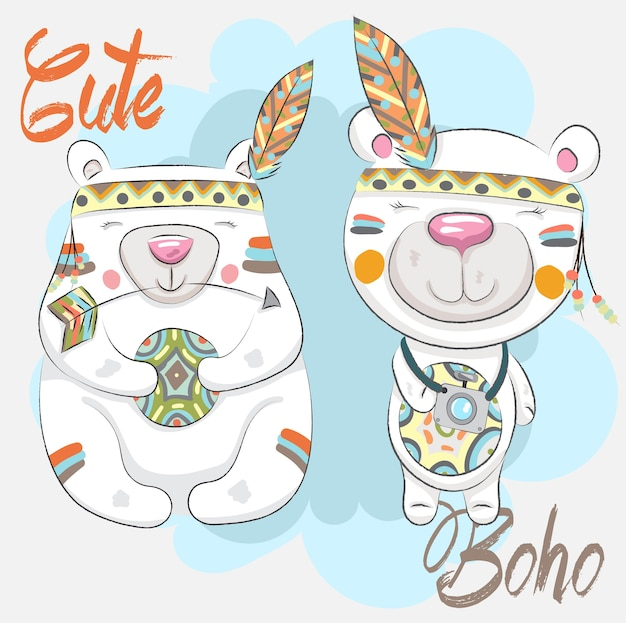 Cute little bears boho pattern cartoon hand drawn