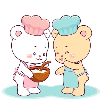 Cute little bears cooking together