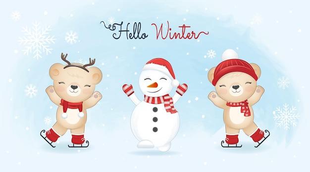 冬の背景にアイススケートと雪だるまのクリスマスシーズンのイラストのかわいいクマ