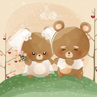 Cute little bears on wedding day