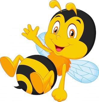 Cute little bee cartoon waving hand